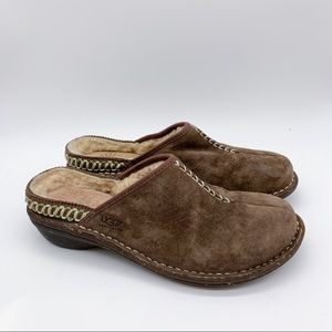 UGG brown leather slide in mules clogs, 8.